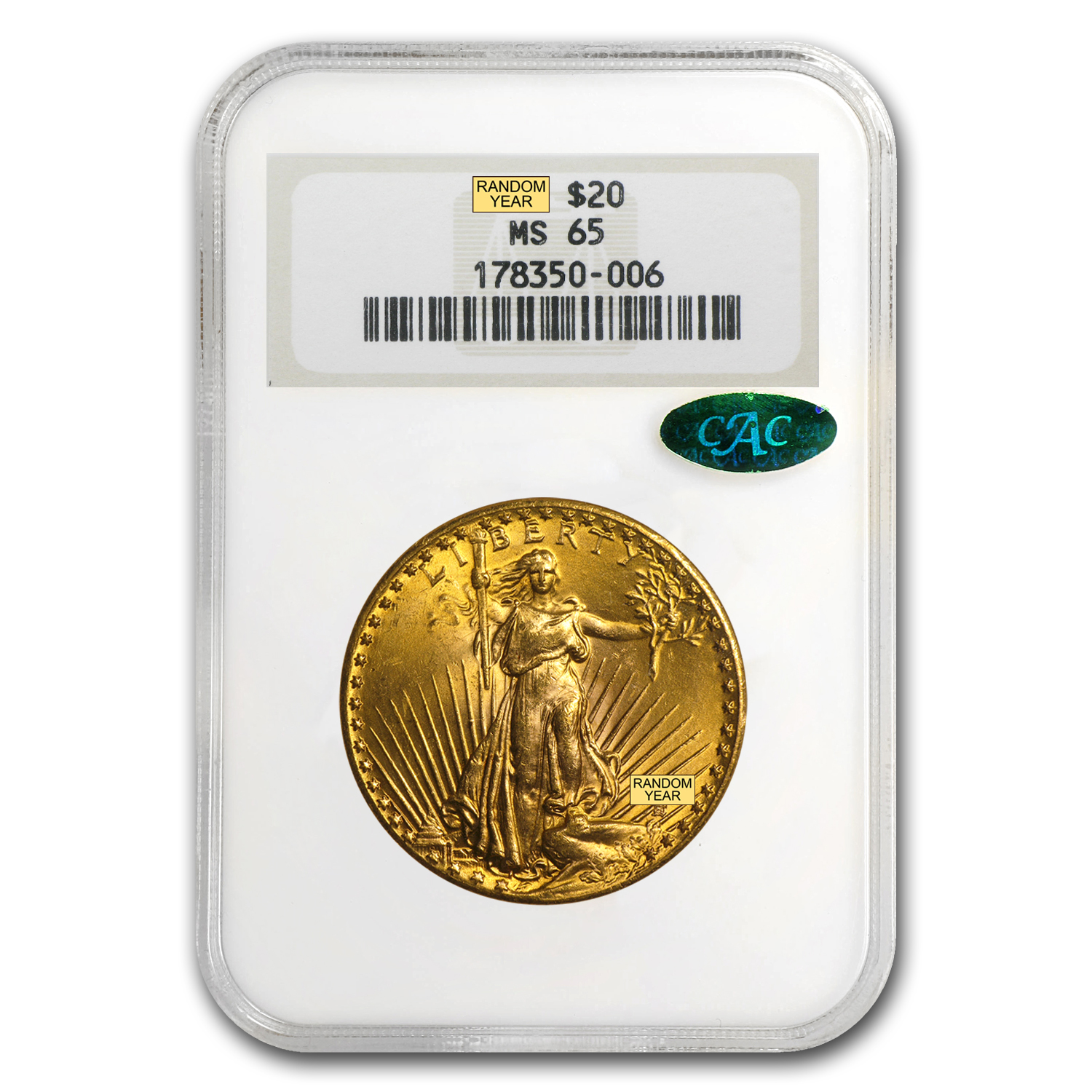 $20 Saint-Gaudens Gold Double Eagle MS-65 PCGS/NGC (CAC)